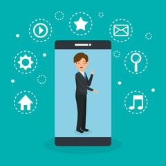 avatar man with social media marketing vector illustration design