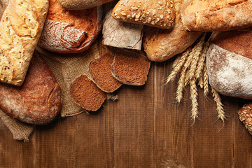 Bakery. Bread On Wood Background