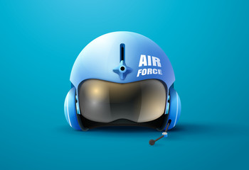 pilot jet helmet vector illustration