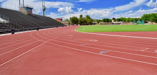Red track at stadium
