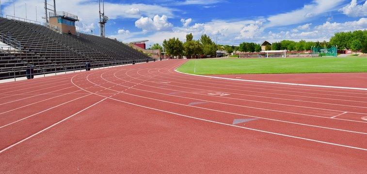 Red track at stadium