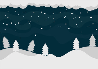 Winter landscape with falling snow and moon. Vector illustration.