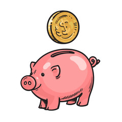 Cartoon piggy bank with coin
