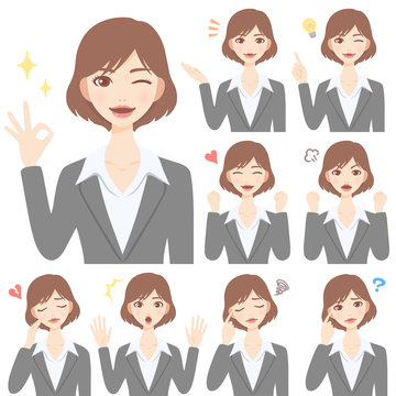Isolated set of young woman flat style avatar expressions
