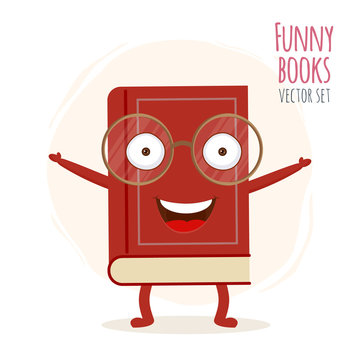 Cute cartoon red book character with smiling faces. Vector illustration icon isolated on white background. EPS 10.
