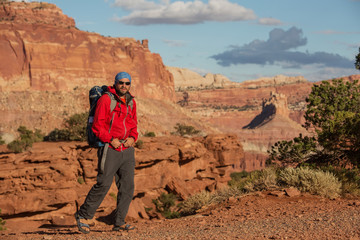 Hiker in Capitol reef National park in Utah, USA