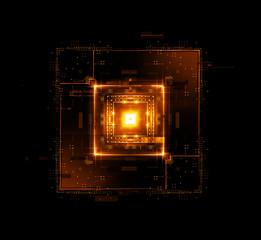 Information CPU engineering..Modern technology. Computer communications. Light effect. Big data center. Hologram. Blockchain..Super system. Smart core. Research and development. Digital signal error