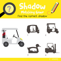 Shadow matching game of Golf Cart cartoon character side view transportations for preschool kids activity worksheet colorful version. Vector Illustration.