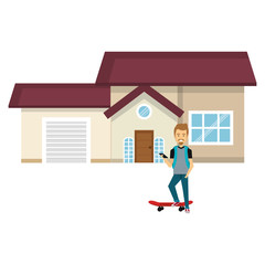 young man with skateboard outside the house vector illustration design