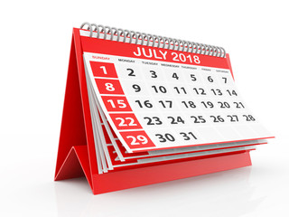 2018 year calendar. July calendar on a white background. 3d rendering