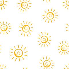 Hand drawn sun icon seamless pattern background. Business concept vector illustration. Handdrawn sunshine symbol pattern.