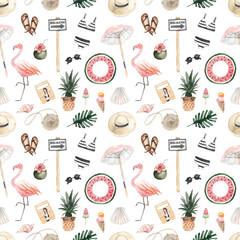 Seamless pattern with summer items. Hat, sunglasses, ice cream, cocktail, flamingo, magazine, swimsuit, seashells, starfish