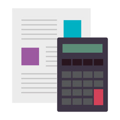 calculator math device with document vector illustration design