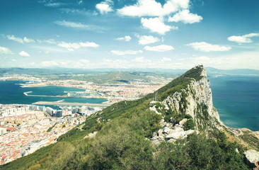 Aerial view of top of Gibraltar Rock, United Kingdom