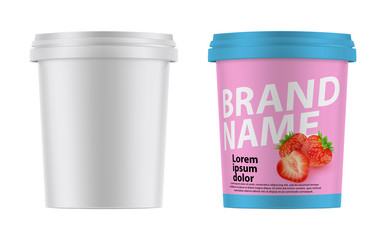 3d realistic plastic container for ice cream, yogurt, sour cream, dessert. Mock Up Ready For Your Design.