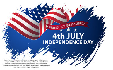 Fourth of July Independence Day. Vector illustration in grunge style