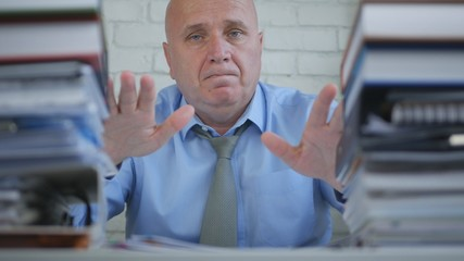 Confident Businessman Presenting His Work In Accounting Archive Room