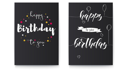 Set of Happy birthday floral posters with lettering design. Birthday greetings with spring, summer flowers and hand written doodles. Decorative style of calligraphy. Hand drawn vector 3D illustration