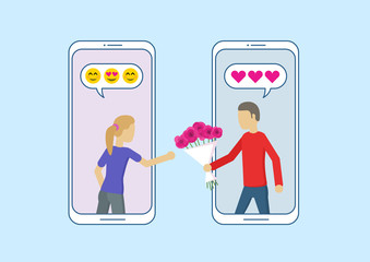 Love in social network. Online dating app relationship. Man gives a woman a bouquet of flowers. Love concept. Vector flat illustration