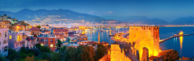 Aluminium Prints Turkey Panoramic view of Alanya harbour at night. Alanya, Turkey