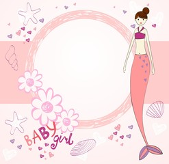 Vector beautiful baby shower card with mermaid.