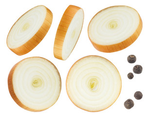 Onion slices and black pepper isolated on white background