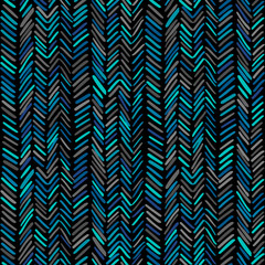 Herringbone pattern. Colorful hand drawn seamless background. Vector illustration with wavy stripes.