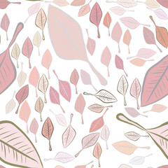 Seamless abstract leaves illustrations background. Sketch, backdrop, cartoon & surface.