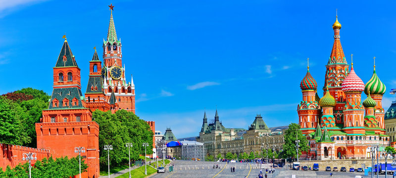 View of Kremlin and Red Square in summer in Moscow, Russia.
