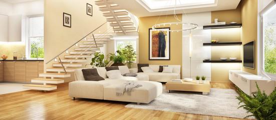 Moderne Küche und Wohnzimmer