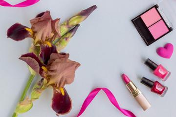Flat lay desk with iris flower