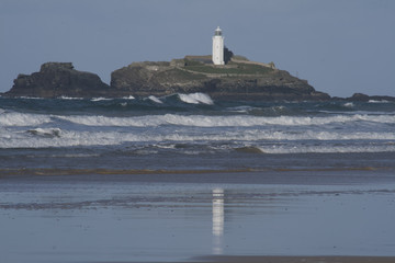 Lighthouse in St Ives Bay Cornwall