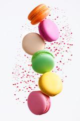 Photo sur Plexiglas Macarons Macaron Sweets. Colorful Macaroons Flying