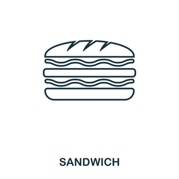 Simple outline Sandwich icon. Pixel perfect linear element. Sandwich icon outline style for using in mobile app, web UI, print.