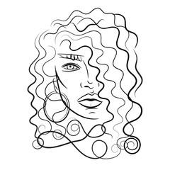 Beautiful woman with long hair. Vector.