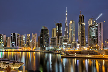 Dubai marina skyscrapers panorama during night hours