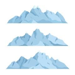 Big mountain set, vector illustration. Mountains landscape, isolated on white background.