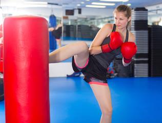 Ordinary female is doing foot-kick