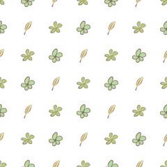 Seamless illustrations of leaves & flower. Digital, vector, backdrop & template.