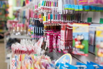 Image of products for holidays arranged in shelves at shop