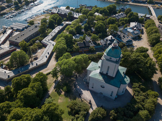 aerial view to Suomenlinna Church exterior, Helsinki, Finland