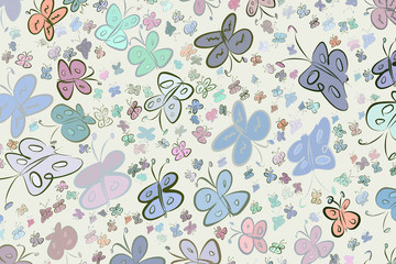 Butterfly illustrations background abstract, hand drawn. Template, art, concept & creative.