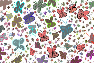 Abstract illustrations of butterfly, conceptual. Creative, cartoon, repeat & background.