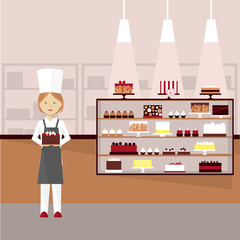 Confectioner with cakes. Vector illustration.