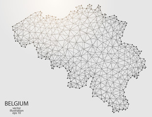 A map of Belgium consisting of 3D triangles, lines, points, and connections. Vector illustration of the EPS 10.
