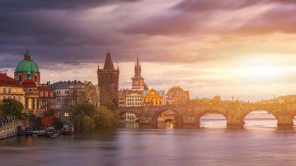 Deurstickers Stockholm Scenic spring sunset aerial view of the Old Town pier architecture and Charles Bridge over Vltava river in Prague, Czech Republic
