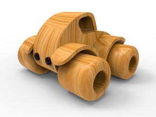 3D concept - wooden toy car