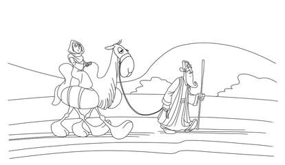 Abraham goes forward. Sarah is riding a camel. Fotomurales