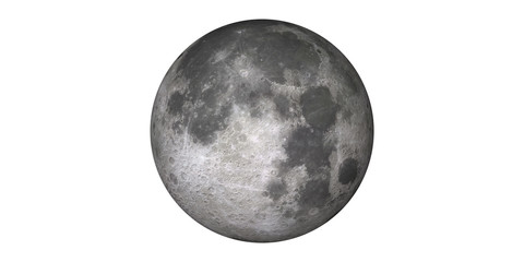 Moon in space white background