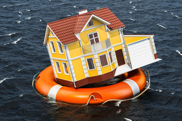 Flood insurance concept. Home inside lifebuoy swimming in the water. 3D rendering